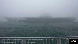 中國遼寧號航母在完成了在西太平洋台灣和日本附近水域的訓練之後於4月30日返回中國東部海港青島。