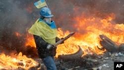 Demonstrant u Kijevu, Ukrajina, 22. januar 2014.
