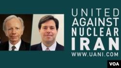 مارک والاس (راست) و سناتور سابق جو لیبرمن، هر دو از مدیران نهاد «اتحاد علیه ایران هستهای.