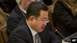 FILE - Choe Myong Nam, North Korea's deputy permanent representative to the UN in Geneva, speaks during a meeting of the U.N. General Assembly human rights committee, Nov. 18, 2014, when he was in charge of U.N. affairs and human rights.