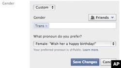 La nueva opción permite a los usuarios de Facebook elegir su género, de entre una lista de 50 posibilidades, y hacerlo público.
