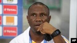 L'entraîneur de la sélection de la RDC, Florent Ibenge, lors d'un point de presse après la victoire de son équipe contre celle du Togo à la CAN 2017 au stade de Port-Gentil, Gabon, 24 janvier 2017.