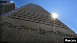 "Gedung ""The New York Times"" di New York, 14 Agustus 2013 (Foto: dok)."