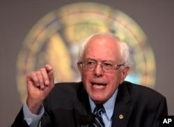 ຜູ້ສະມັກເປັນ ປະທານາທິບໍດີ ສະຫະລັດ ພັກເດໂມແຄຣັດ ສະມາຊິກ ສະຫະພາສູງ ທ່ານ Bernie Sanders.