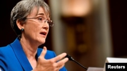 FILE - U.S. Secretary of the Air Force Nominee Heather Wilson testifies before the Senate Armed Services Committee, as a part of the confirmation process, March 30, 2017.