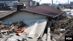 The quake and resulting tsunami waves killed an estimated 18,000 people and triggered the meltdowns of three nuclear reactors in Fukushima, Japan. (S. Herman/VOA)
