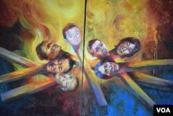 《火柴人》以7位自焚藏人的頭像喻意147位自焚者犧牲自己燃燒生命。(美國之音湯惠芸)