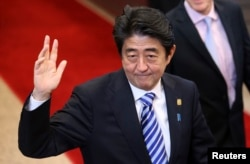 FILE - Japan's Prime Minister Shinzo Abe, June 5, 2014.