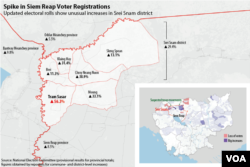 This map shows communes in Cambodia's northwestern Siem Reap province that experienced the highest increases in voter registrations. Data source: Cambodia's National Election Committee. (Michael Dickison/Julia Wallace for VOA Khmer)