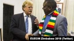 Elmar Brok et Emmerson Mnangagwa se rencontrent le 5 juillet 2018.