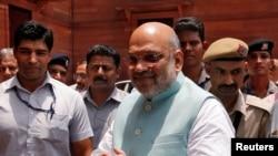 بھارت کے نئے وزیر داخلہ امیت شاہ نئی دہلی میں میڈیا کے نمائندؤں کے ساتھ، یکم جون 2019