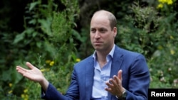 Britain's Prince William speaks during a visit to the Garden House, part of the Light Project, which works on getting people safely off the streets throughout the coronavirus disease (COVID-19) outbreak, in Peterborough, Britain, July 16, 2020.