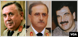 Şam'da 18 Temmuz 2012'de bombalı saldırıda öldürülen Suriye'li bakanlar (soldan, sağa) eski Savunma Bakanı General Hasan Türkomani, Savunma Bakanı General Davud Racha ve Devlet Başkanı Beşar Esad'ın kayınbiraderi olan Savunma Bakan Yardımcısı General Asıf Şevket