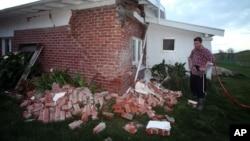 Căn nhà của ông Kieran Hickman bị hư hai trong trận động đất ở Taimate, New Zealand, 16/8/13