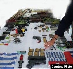Barang bukti yang berhasil diamankan petugas gabungan TNI-Polri dari tangan kelompok separatis di Mimika, Papua. Jumat 10 April 2020. (Courtesy: Humas Polda Papua)