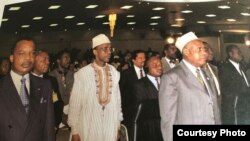 Salim Himidi (kati kati) kwenye mkutano wa Umoja wa chi za Afrika OAU.