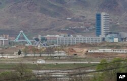 The Kaesong industrial complex in North Korea is seen from the Taesungdong freedom village inside the demilitarized zone in Paju, South Korea, April 24, 2018.