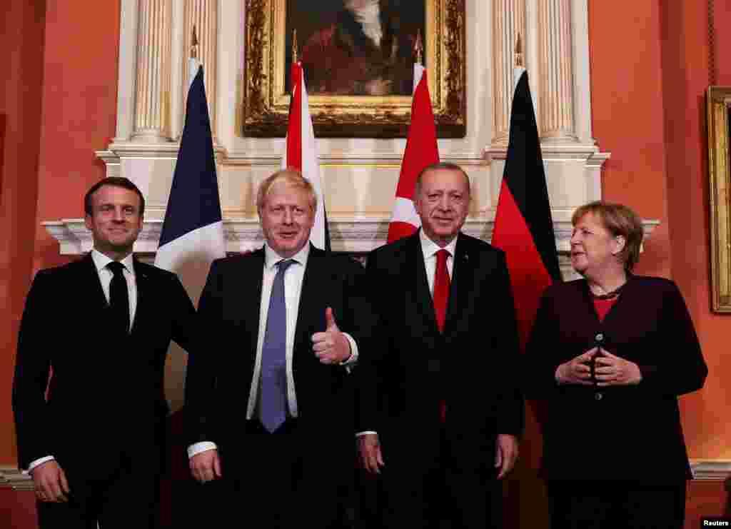 Briitaniya - London, Fransa prezidenti Emanuel Makron, Britaniyanın baş naziri Boris Conson, Türkiyə prezidenti Rəcəb Tayyib Ərdoğan və Almaniya kansleri Angela Merkel NATO sammitindən əvvəl