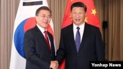 지난 7월 문재인 한국 대통령(왼쪽)과 시진핑 중국 국가주석이 독일 베를린에서 열린 정상회담에서 악수하고 있다.