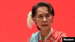 Penasihat Negara Myanmar Aung San Suu Kyi menghadiri Invest Myanmar di Naypyitaw, Myanmar, 28 Januari 2019. (Foto: REUTERS/Ann Wang)