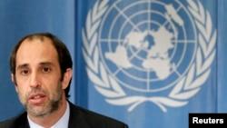 오헤아 퀸타나 신임 유엔 북한인권특별보고관이 미얀마인권특별보고관 시절인 지난 2010년 3월 스위스 제네바에서 열린 유엔 인권이사회에서 발언하고 있다. (자료사진)