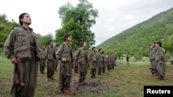 Kurdistan Workers Party (PKK) fighters stand in formation in northern Iraq May 14, 2013. The first group of Kurdish militants to withdraw from Turkey under a peace process entered northern Iraq on Tuesday, and were greeted by comrades from the Kurdistan W