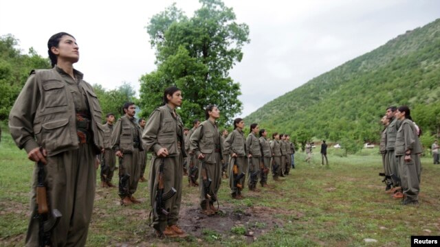 Kurdistan Workers Party (PKK) fighters stand in formation in northern Iraq May 14, 2013.