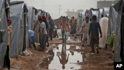 土耳其與敘利亞邊境的難民營。