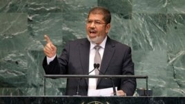 Mohammed Morsi, President of Egypt, addressing 67th session of the United Nations General Assembly, U.N. headquarters in New York, Sept. 26, 2012.