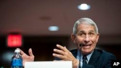 Doktè Anthony Fauci ki t ap fè depoziisyon li devan yon komisyon Sena ameriken an madi 30 jen 2020 an.