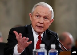 Attorney General-designate Sen. Jeff Sessions testifies, Jan. 10, 2017, at his confirmation hearing before the Senate Judiciary Committee on Capitol Hill.
