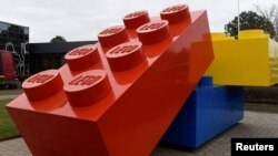 FILE - Giant Lego bricks are displayed at the headquarters of the Danish toy company in Billund, Denmark.