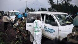 Nzoto ya ntoma Luca Attanasio ya ITalie ememami na motuku ya lopitalo ya MONUSCO nsima na kobetama masasi na bato bayebani te na Kibumba, na 25 kms ya Goma, Nord-Kivu, 22 février 2021.