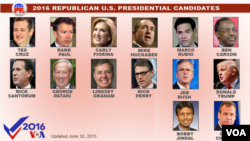2016 U.S. Republican presidential candidates, as of June 30, 2015.