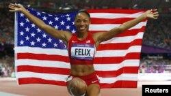 8일 런던 올림픽 육상 200m에서 금메달을 획득한 미국 육상선수 앨리슨 필릭스.