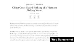 Tuyên bố của Lầu Năm Góc về vụ tàu cá Việt Nam bị tàu hải cảnh Trung Quốc đâm chìm. Photo Defense.gov