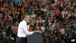 奧巴馬總統星期四在佛羅里達的邁阿密大學發表講話