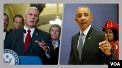 باراک اوباما و مایک پنس روز چهارشنبه در کنگره حضور یافتند تا با نمایندگان دو حزب دموکرات و جمهوریخواه دیدار کنند.