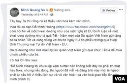 Một phần bài viết trên trang Facebook của đại sứ Vũ Quang Minh.