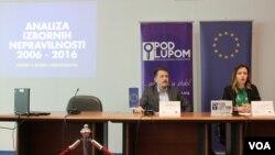 Danijel Stjepanović i Jelena Tanasković Mićanović predstavili analizu Koalicije pod lupom o izbornim nepravilnostima u periodu o 2006. - 2016.