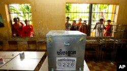 Một địa điểm bầu cử của Campuchia.