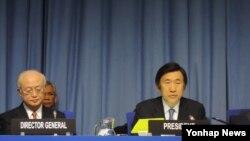 윤병세 한국 외교부 장관(오른쪽)이 지난 5일 오스트리아 빈에서 개막한 국제원자력기구(IAEA) 핵 안보 각료회의를 주재하고 있다. 왼쪽은 아마노 유키야 IAEA 사무총장.
