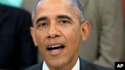FILE - President Barack Obama speaks to the media.