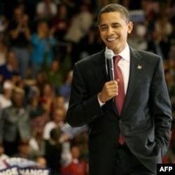 Senator Barack Obama at a campaign event in 2008