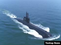 첫 수출잠수함인 인도네시아 1천400톤급 잠수함 항해 모습. (대우조선해양 제공)