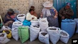 "Campesinas bolivianas venden ""chuño"", o papa congelada, en un mercado de El Alto, Bolivia."