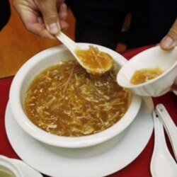 A bowl of shark fin soup being served at a restaurant in San Francisco's Chinatown area