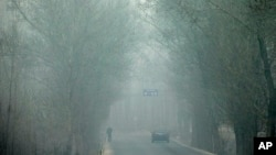 FILE - Heavy haze on a severely polluted day obscures a man and a car traveling on a road in Pingshan county of Shijiazhuang in northern China's Hebei province, Feb. 26, 2014.