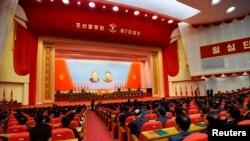 9일 북한 평양 4.25 문화회관에서 열린 7차 노동당 대회.