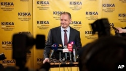 Candidate Andrej Kiska during a press conference after the first round of Slovak presidential election in Bratislava, March 16, 2014.